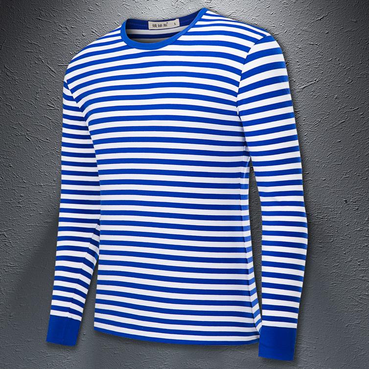长袖情侣t恤 国货海魂衫长袖t恤男女装经典蓝白条纹修身体恤情侣海军风打底衫_推荐淘宝好看的女长袖情侣t恤