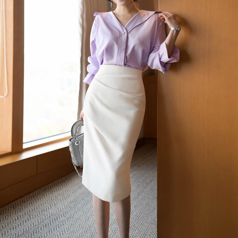 白色半身裙 白色半身裙夏高腰OL职业中长款裙子女夏季半裙黑色包臀裙秋半身裙_推荐淘宝好看的白色半身裙