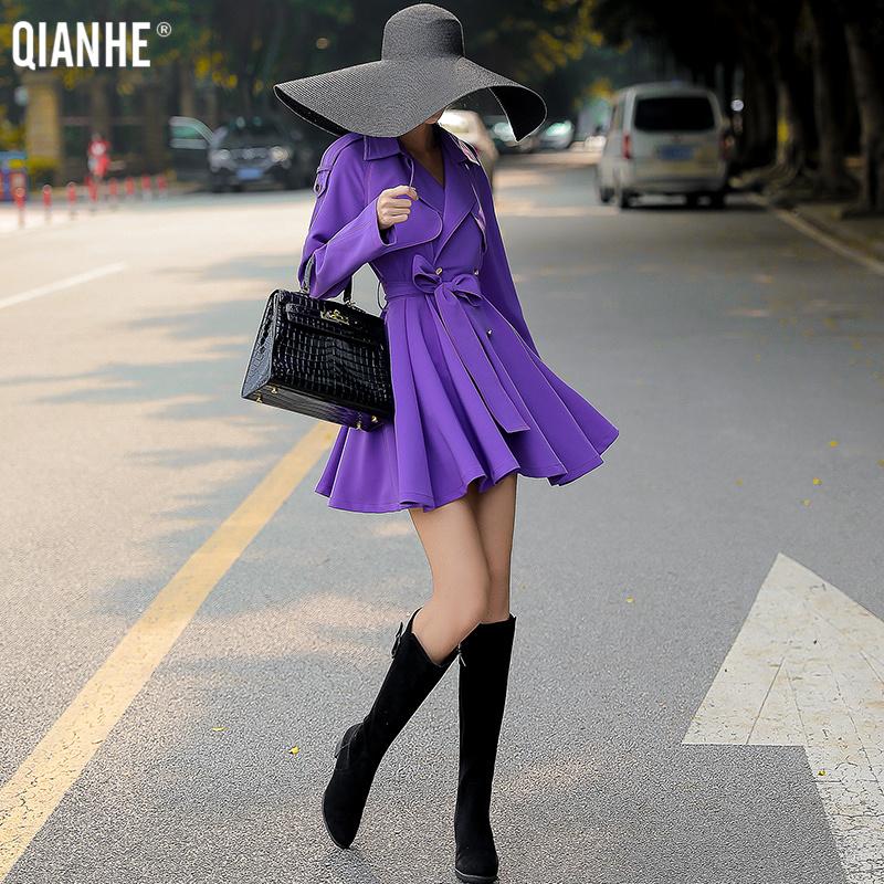 紫色风衣 乾赫紫色风衣女短款小个子2021新款春秋季西装领系带收腰裙摆外套_推荐淘宝好看的紫色风衣