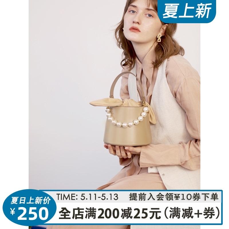 真皮水桶包 TENNCO「珍珠奶泡」小众设计款真皮水桶包优雅手提包单肩斜挎包女_推荐淘宝好看的真皮水桶包