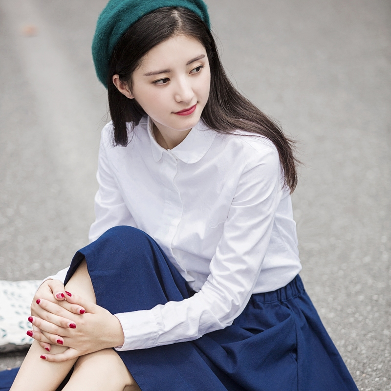 白色衬衫 白衬衫女春季纯棉娃娃领超火的chic打底白色衬衣女小清新长袖上衣_推荐淘宝好看的白色衬衫