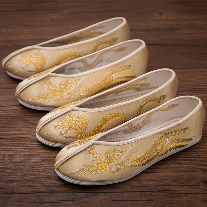 黄色单鞋 中式复古婚鞋女士金色秀禾鞋新娘千层底流苏穗黄色婚鞋上轿鞋单鞋_推荐淘宝好看的黄色单鞋
