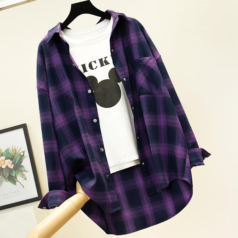 紫色衬衫 紫色格子衬衫女复古港味长袖外套2021年春季衬衣休闲宽松磨毛厚款_推荐淘宝好看的紫色衬衫