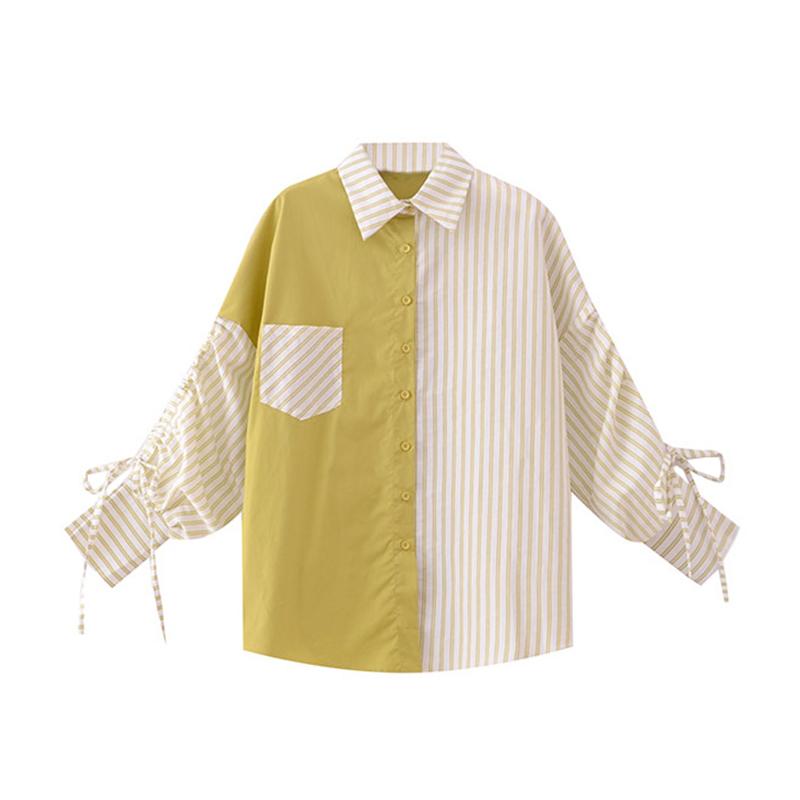 撞色衬衫 撞色条纹拼接衬衫女设计感小众2020春季新款长袖宽松衬衣心机上衣_推荐淘宝好看的女撞色衬衫