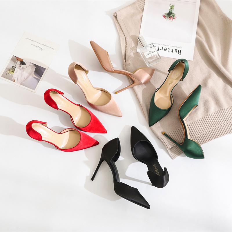 性感高跟鞋 2020春季仙女高跟鞋裸色绸缎中空鞋法式少女尖头性感细跟10cm单鞋_推荐淘宝好看的女性感高跟鞋