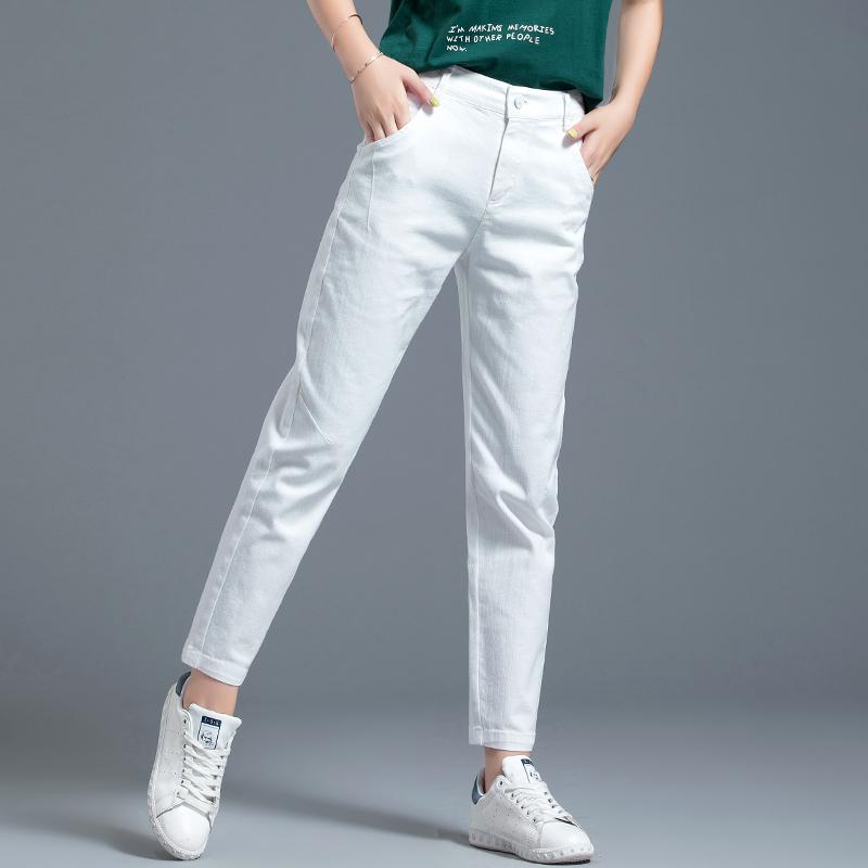 白色休闲裤 白色裤子牛仔裤女直筒宽松休闲九分裤哈伦裤女裤2021新款夏季薄款_推荐淘宝好看的白色休闲裤