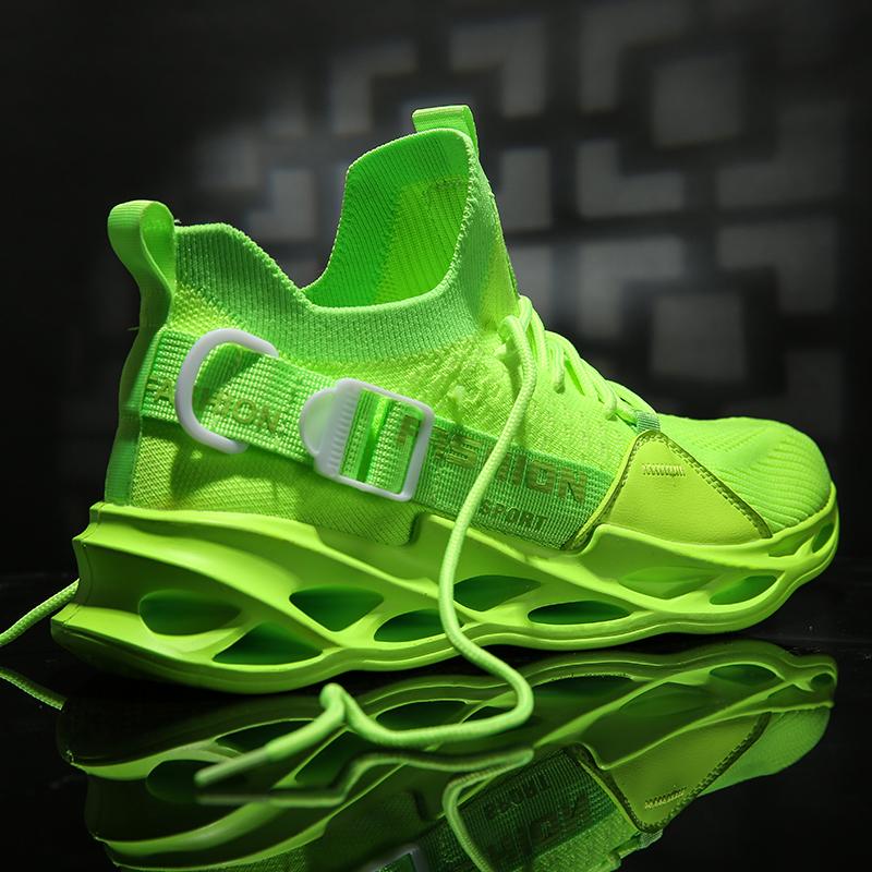 绿色运动鞋 男鞋子绿色网红夏季2020新款潮流百搭运动潮鞋增高鞋ins老爹鞋男_推荐淘宝好看的绿色运动鞋