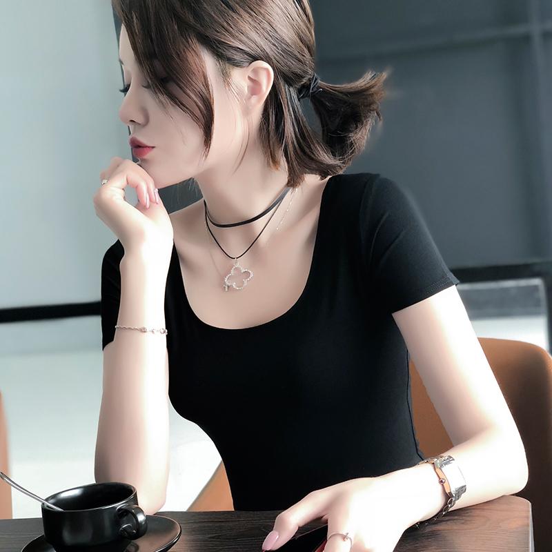 黑色T恤 莫代尔短袖t恤女夏季薄款修身打底衫大U领内搭黑色显瘦低领大圆领_推荐淘宝好看的黑色T恤