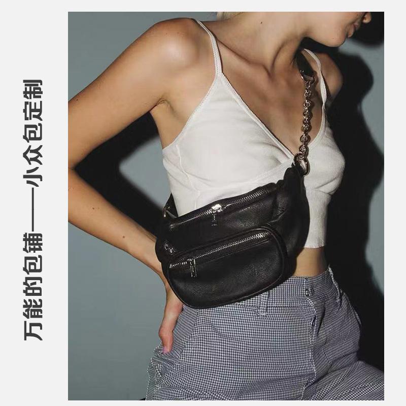 黑色链条包 美国 ins超火胸挎包新款超模同款时髦帅气链条黑色腰包斜挎包胸包_推荐淘宝好看的黑色链条包