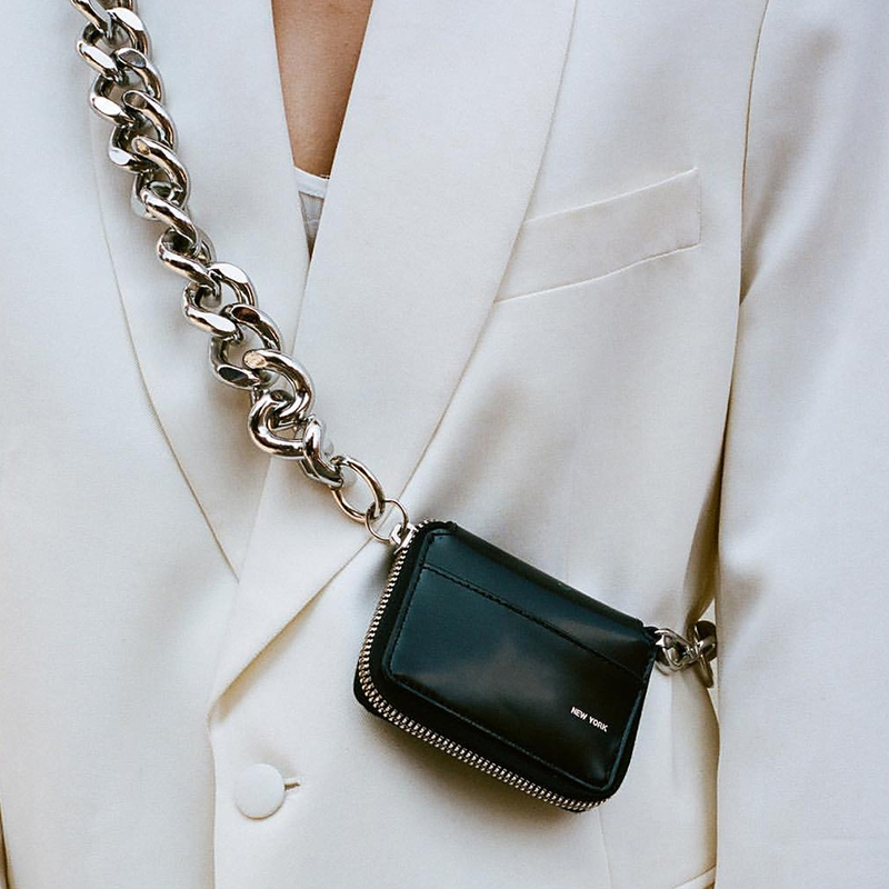 黑色钱包 粗金属链BLACK BIKE WALLET黑色单肩包mini小包胸包零钱包ins爆款_推荐淘宝好看的黑色钱包