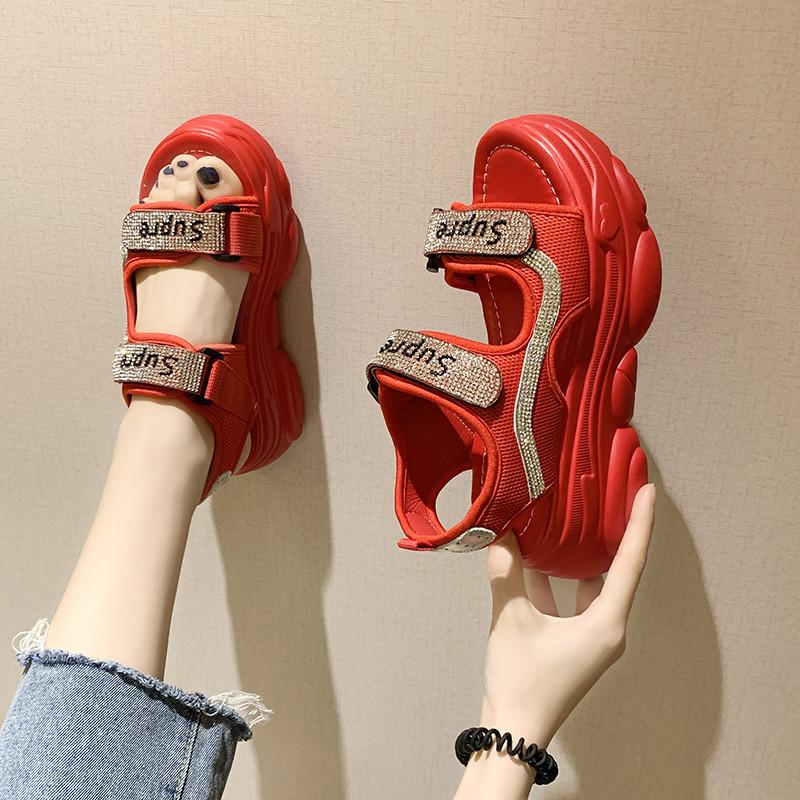 水钻罗马鞋 欧洲站网红水钻凉鞋街拍运动ins潮松糕厚底坡跟魔术贴罗马鞋女夏_推荐淘宝好看的水钻罗马鞋