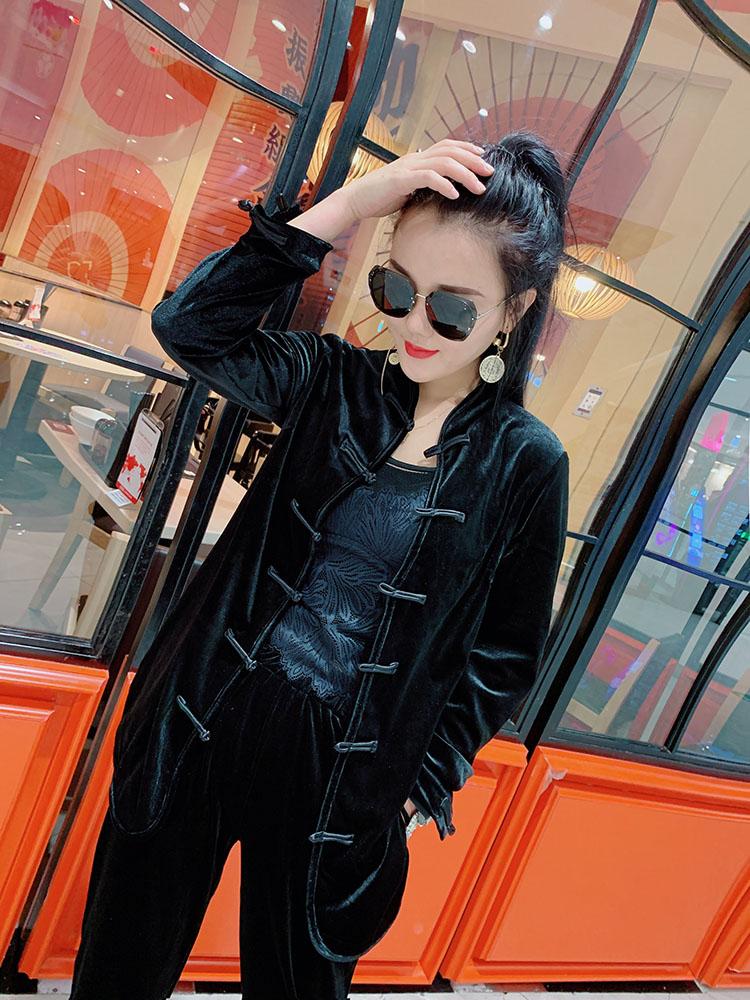 春装 2021春装新款韩版黑色盘扣金丝绒外套时尚百搭女装上衣长袖女装潮_推荐淘宝好看的春装
