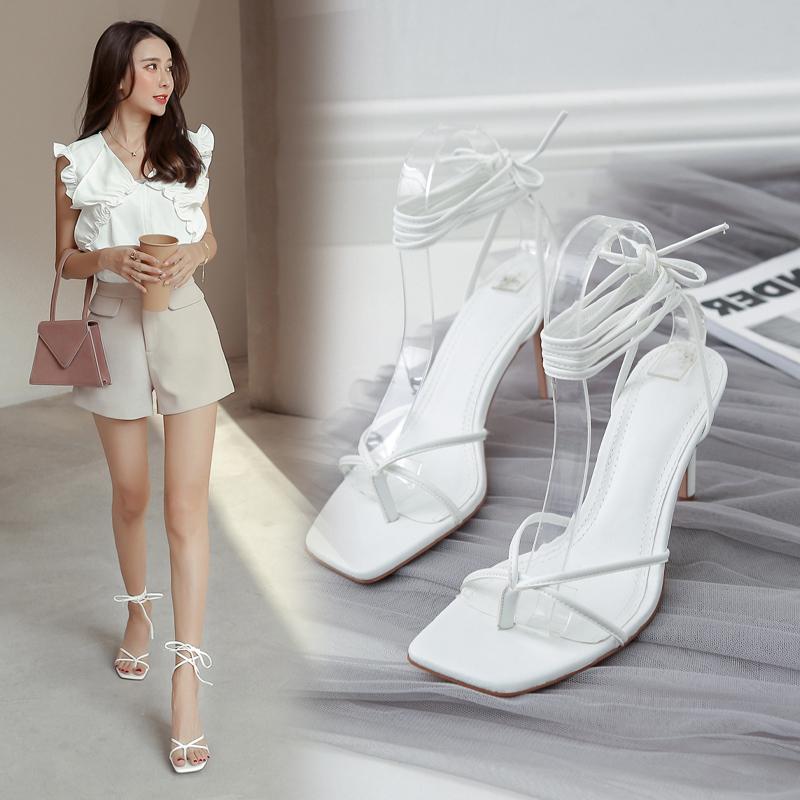 白色罗马鞋 2020年新款细跟时装白色黑色凉鞋性感罗马绑带仙女风高跟鞋 ins夏_推荐淘宝好看的白色罗马鞋