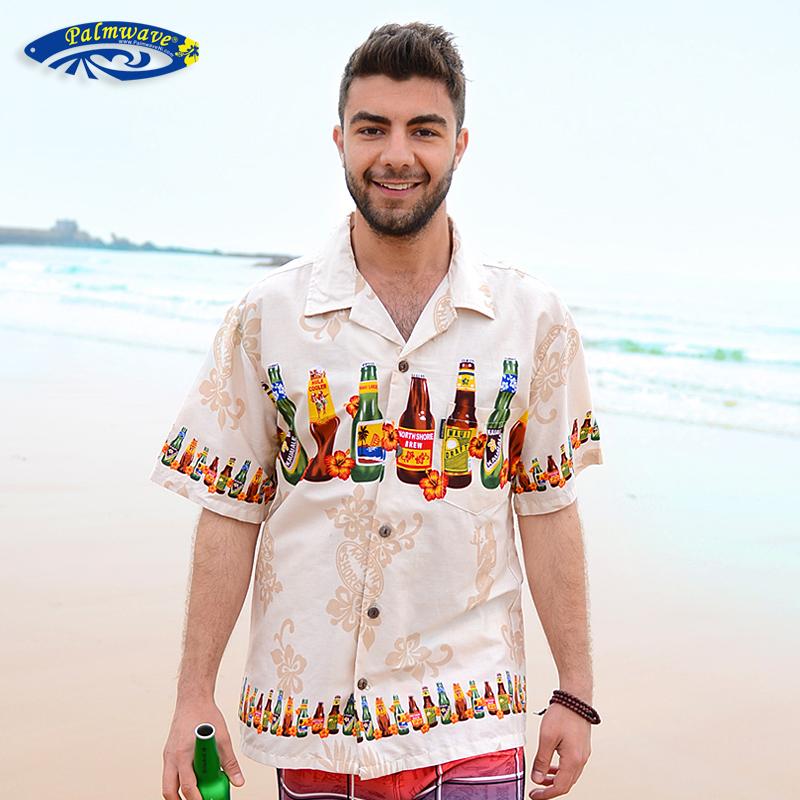 男士纯棉衬衫 新款夏威夷沙滩衬衣纯棉印花大码宽松休闲男士短袖衬衫PW046_推荐淘宝好看的男纯棉衬衫