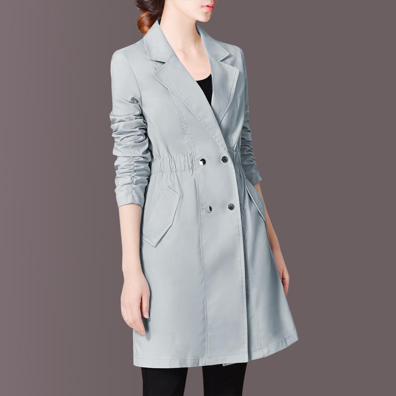 韩版风衣外套 2021春装风衣女中长款新款韩版英伦收腰双排扣显瘦外套C418_推荐淘宝好看的女韩版风衣外套