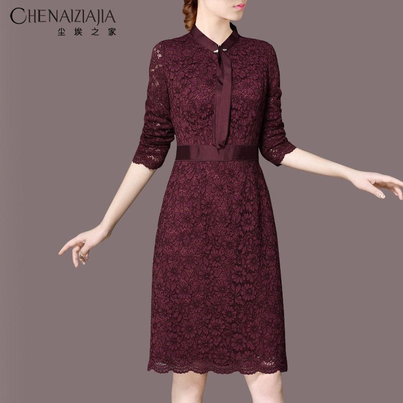 蕾丝连衣裙 经典款 2021春装新品酒红优雅领结蕾丝修身气质显瘦长袖连衣裙E58_推荐淘宝好看的蕾丝连衣裙
