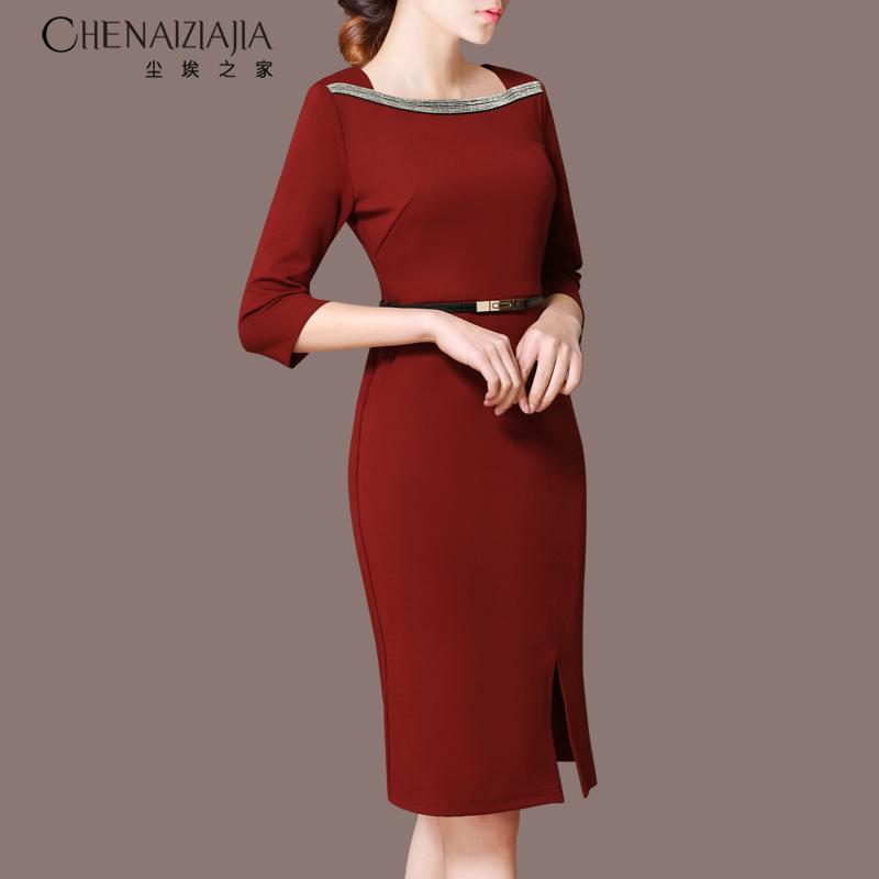 新款七分袖连衣裙 2020秋装新款复古七分袖打底裙子一字肩中长款酒红色连衣裙女A87_推荐淘宝好看的新款七分袖连衣裙