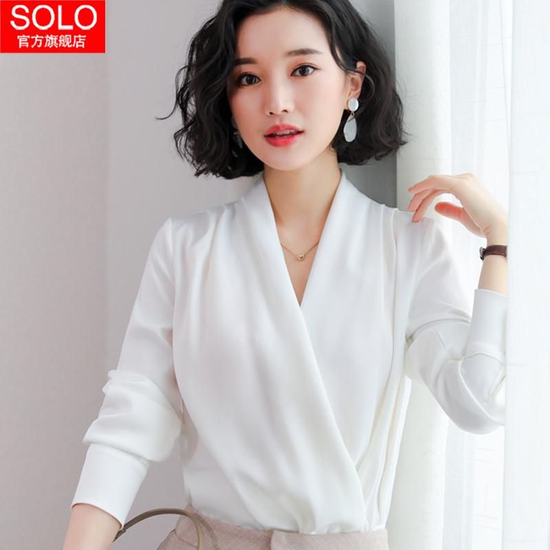 紫色雪纺衫 很仙的上衣韩版心机白雪纺衬衫女长袖设计感时尚性感v领洋气小衫_推荐淘宝好看的紫色雪纺衫