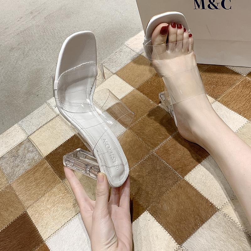 粗跟高跟鞋 凉鞋女2021新款夏百搭网红一字带粗跟凉拖鞋女外穿水晶透明高跟鞋_推荐淘宝好看的女粗跟高跟鞋