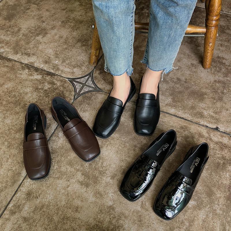 英伦豆豆鞋 2020秋季黑色秋鞋平底英伦小皮鞋女单鞋乐福鞋一脚蹬豆豆鞋休闲鞋_推荐淘宝好看的女英伦豆豆鞋