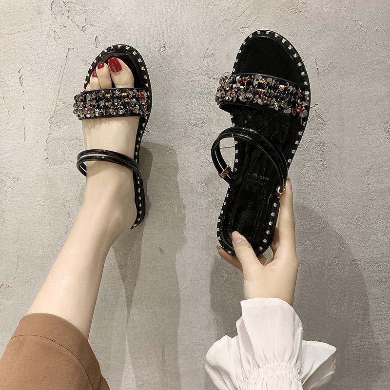 水钻平底罗马鞋 一鞋两穿凉鞋女2020年新款夏季仙女风学生百搭时装水钻平底罗马鞋_推荐淘宝好看的女水钻平底罗马鞋