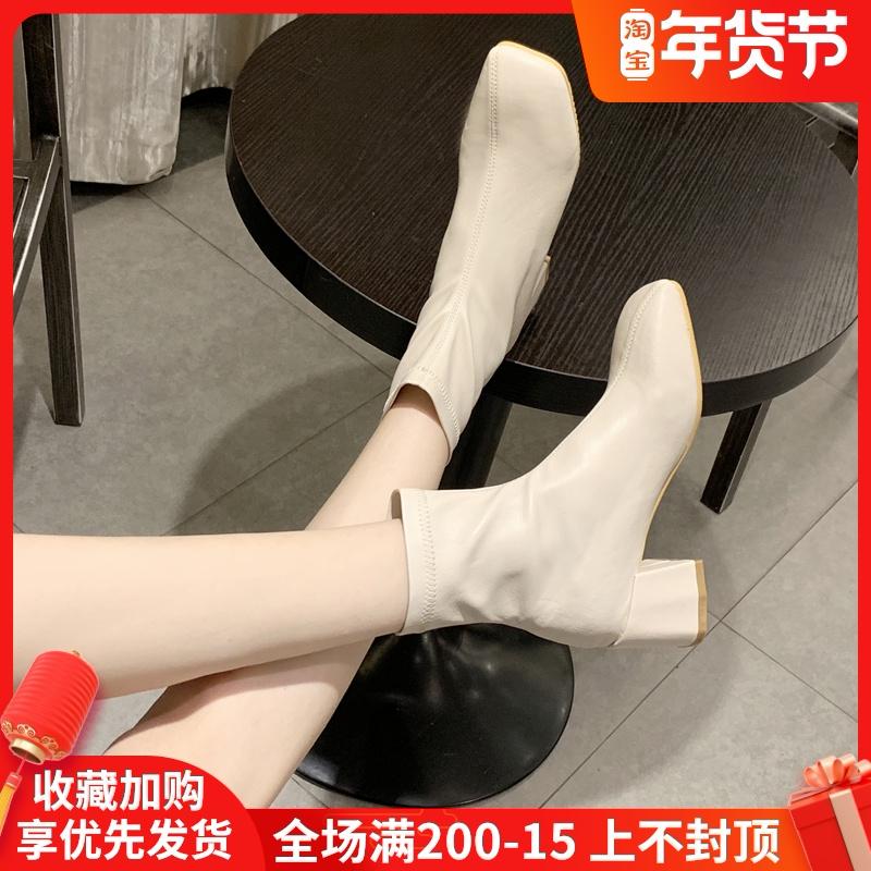 英伦短靴 米白色马丁靴女英伦风2020秋冬季新款百搭加绒瘦瘦靴中粗跟短靴子_推荐淘宝好看的女英伦短靴