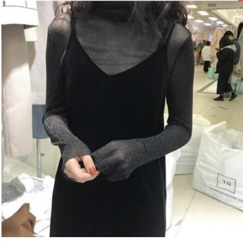 黑色连衣裙 黑色金丝绒吊带裙女秋冬长款两件套内搭外穿中长款大码性感连衣裙_推荐淘宝好看的黑色连衣裙