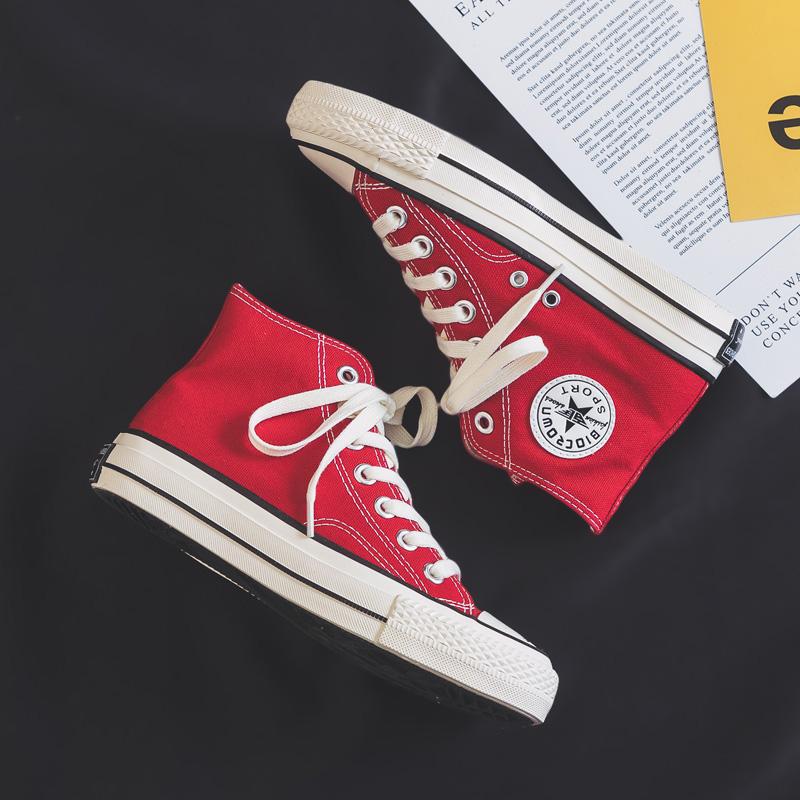 红色高帮鞋 2021春季新款高帮中国红色帆布鞋女复古ulzzang板鞋1970s百搭布鞋_推荐淘宝好看的红色高帮鞋