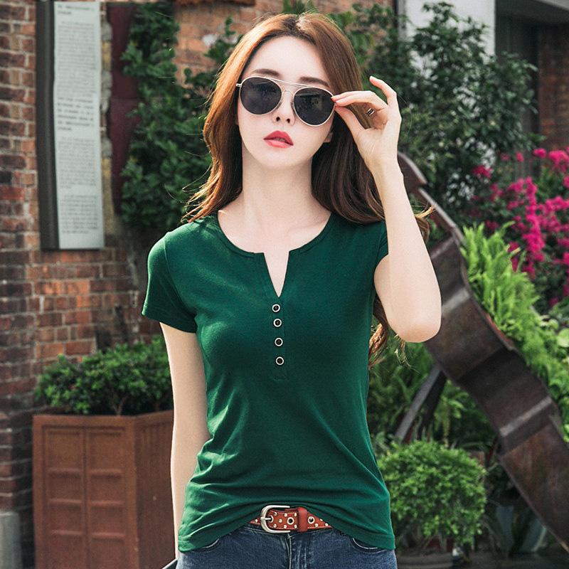 绿色T恤 短袖丅恤女夏上衣2021年新款夏装女装V领t桖绿色纯棉女士半袖t恤_推荐淘宝好看的绿色T恤