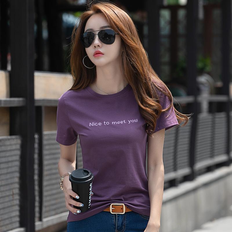 紫色T恤 短袖t恤女纯棉女装2021年新款夏季女士紫色上衣修身夏装半袖t桖夏_推荐淘宝好看的紫色T恤