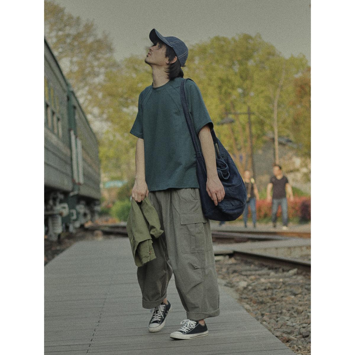 绿色T恤 危机青年 复古蓝绿色宽松短袖T恤男简约纯色夏季日系基础款半袖潮_推荐淘宝好看的绿色T恤