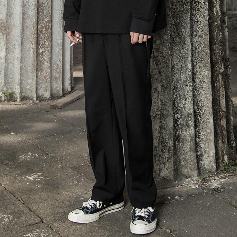 欧美西装男 MaxBeats春装直筒宽松英式雅痞休闲纯黑色西裤男欧美学院西装裤潮_推荐淘宝好看的欧美西装男