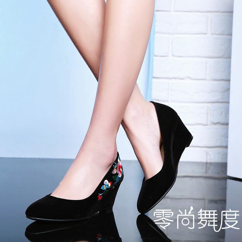 坡跟鞋 零尚舞度复古民族风绣花鞋布鞋刺绣女单鞋春夏坡跟 高跟旗袍鞋_推荐淘宝好看的女坡跟鞋