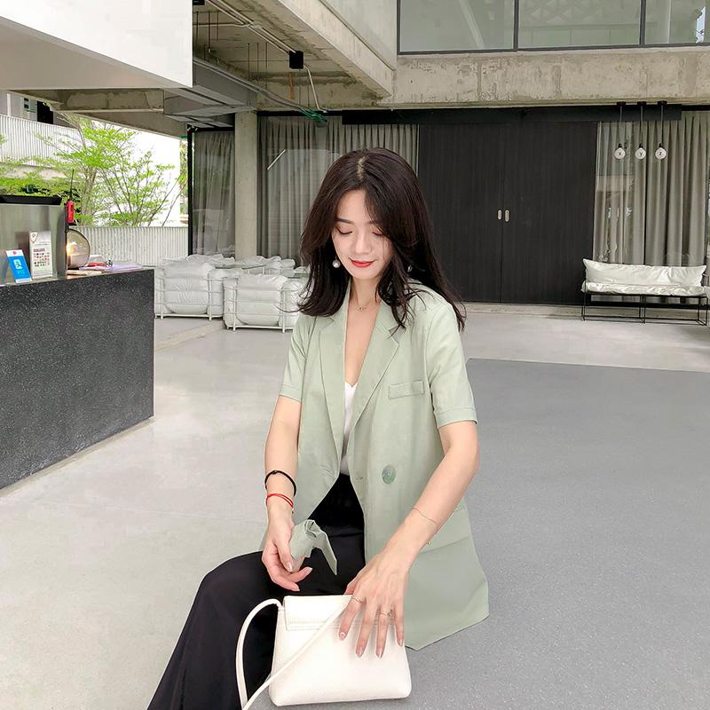 短袖小西装 2020年夏季新款韩版短袖时尚休闲小西装外套女气质宽松洋气上衣_推荐淘宝好看的女短袖小西装