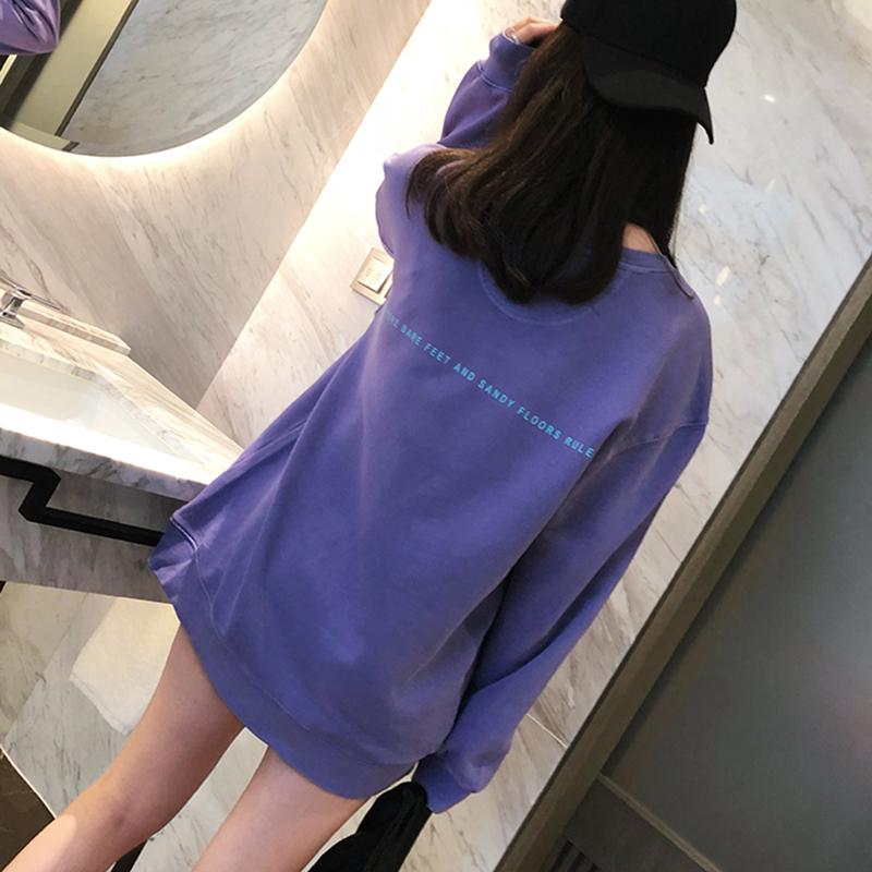 紫色卫衣 网红ins潮紫色卫衣女2021春新款下衣失踪中长款宽松加绒oversize_推荐淘宝好看的紫色卫衣