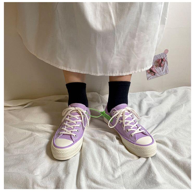 紫色松糕鞋 大猫欧巴 浅紫色厚底帆布鞋女2020新款学生韩版松糕鞋增高鞋_推荐淘宝好看的紫色松糕鞋