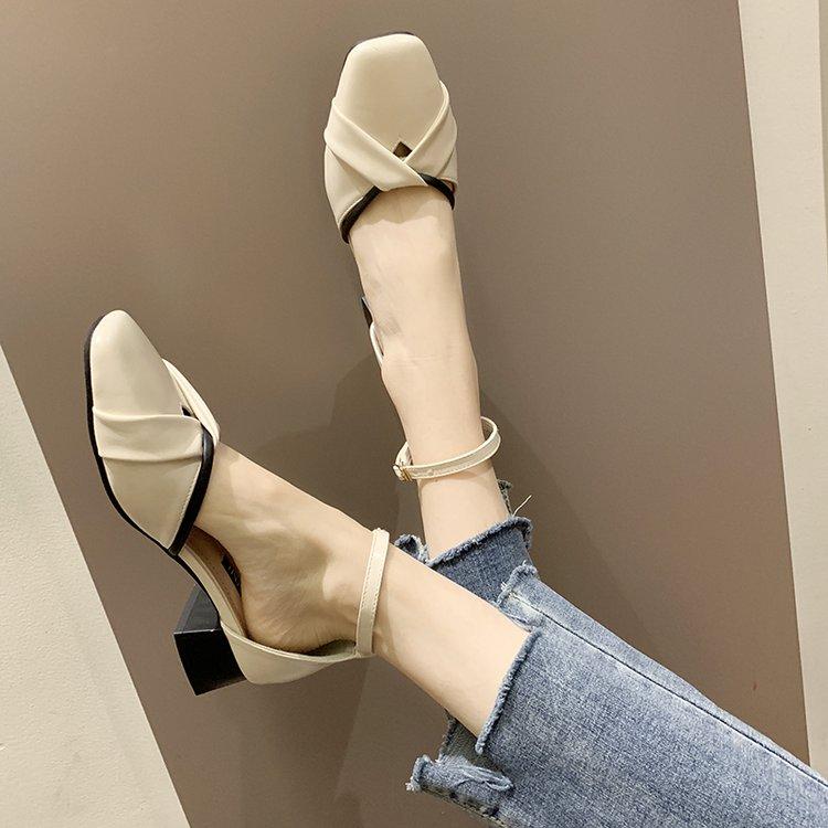 最新款高跟凉鞋 凉鞋女仙女风2020潮鞋新款韩版百搭粗跟高跟鞋一字扣女鞋子罗马鞋_推荐淘宝好看的女新款高跟凉鞋