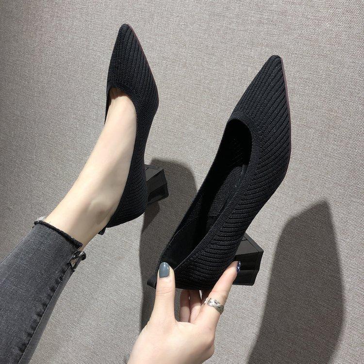 粗跟高跟鞋 针织方跟浅口时尚女鞋韩版尖头单鞋2020春秋新款粗跟高跟鞋工作鞋_推荐淘宝好看的女粗跟高跟鞋