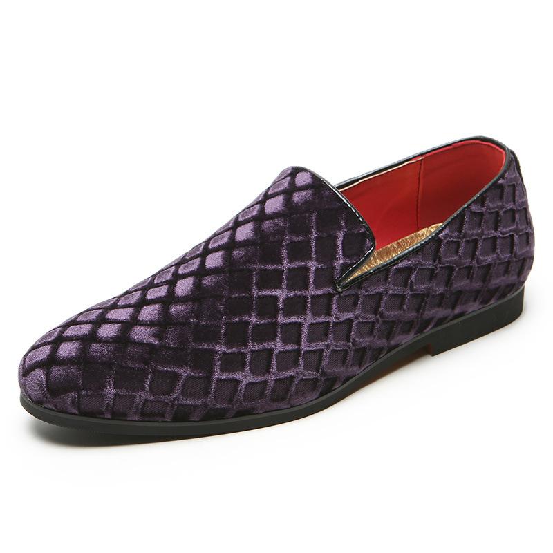 紫色豆豆鞋 时尚紫色小众菱格纹时尚外贸过年男鞋欧韩风一脚蹬单鞋豆豆金丝绒_推荐淘宝好看的紫色豆豆鞋