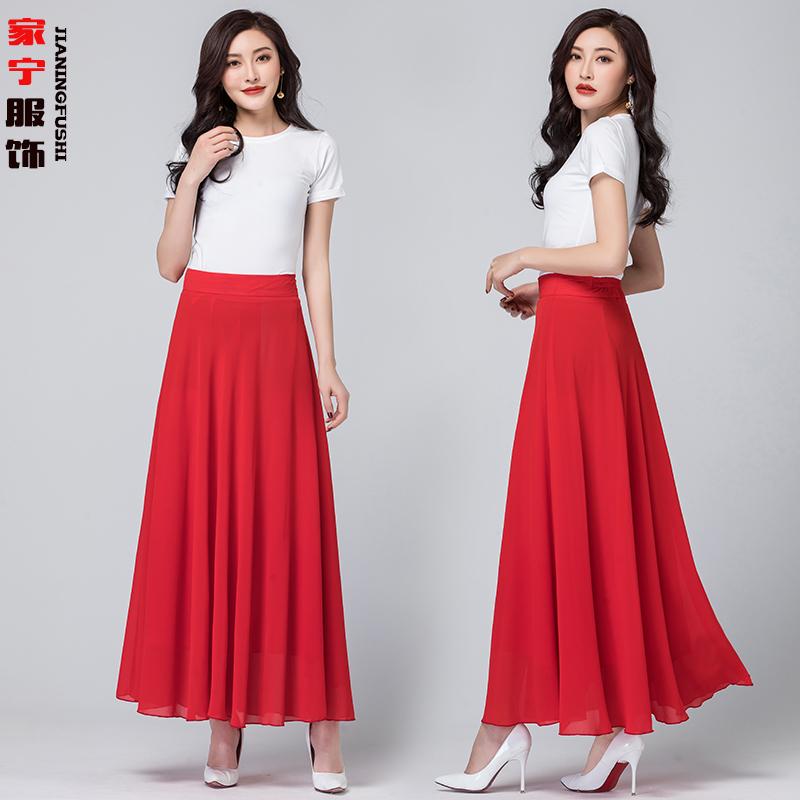 红色半身裙 新款夏季2021雪纺半身裙女红色高腰A字中长大摆跳舞裙纯色长裙子_推荐淘宝好看的红色半身裙