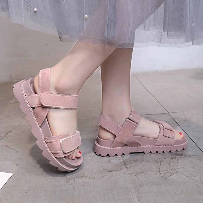韩版松糕鞋 2020夏季新款厚底中跟松糕跟韩版凉鞋女防滑学生鞋原宿女鞋子潮鞋_推荐淘宝好看的女韩版松糕鞋