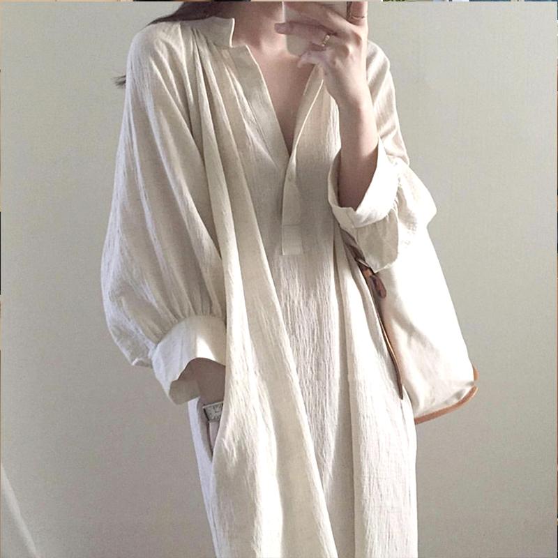 白色连衣裙 韩国chic宽松慵懒风小众棉麻衬衣裙女中长款V领过膝白色连衣裙子_推荐淘宝好看的白色连衣裙