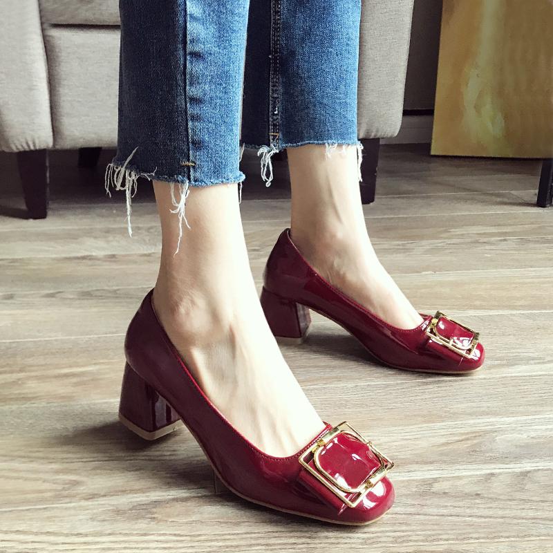 漆皮高跟单鞋 红色单鞋女2021夏款百搭韩版中跟女鞋复古方头婚鞋漆皮高跟鞋粗跟_推荐淘宝好看的女漆皮高跟单鞋