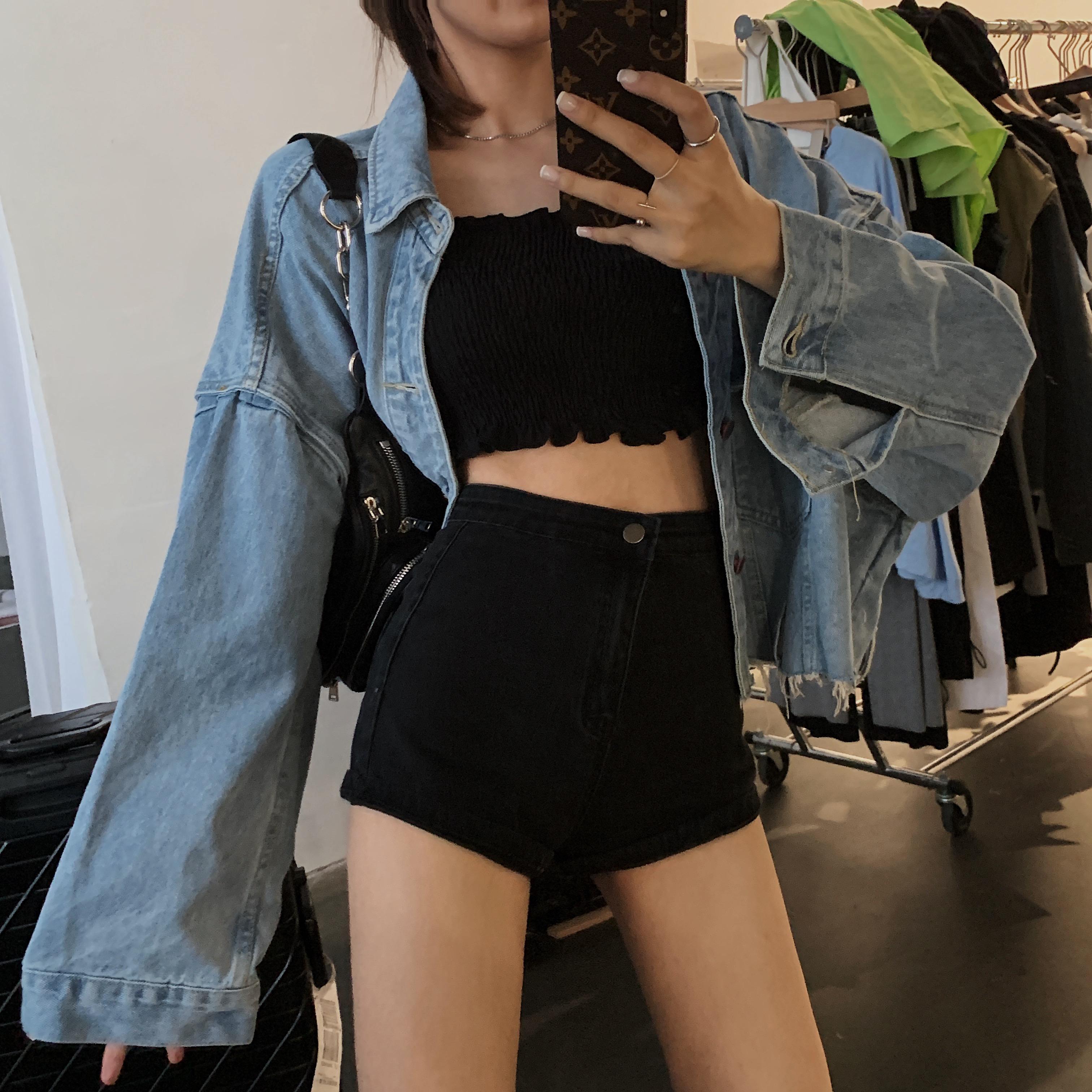 高腰紧身牛仔裤 IN MIMIFACE 黑色高腰牛仔短裤女夏2020新款修身显瘦性感紧身热裤_推荐淘宝好看的女高腰紧身牛仔裤