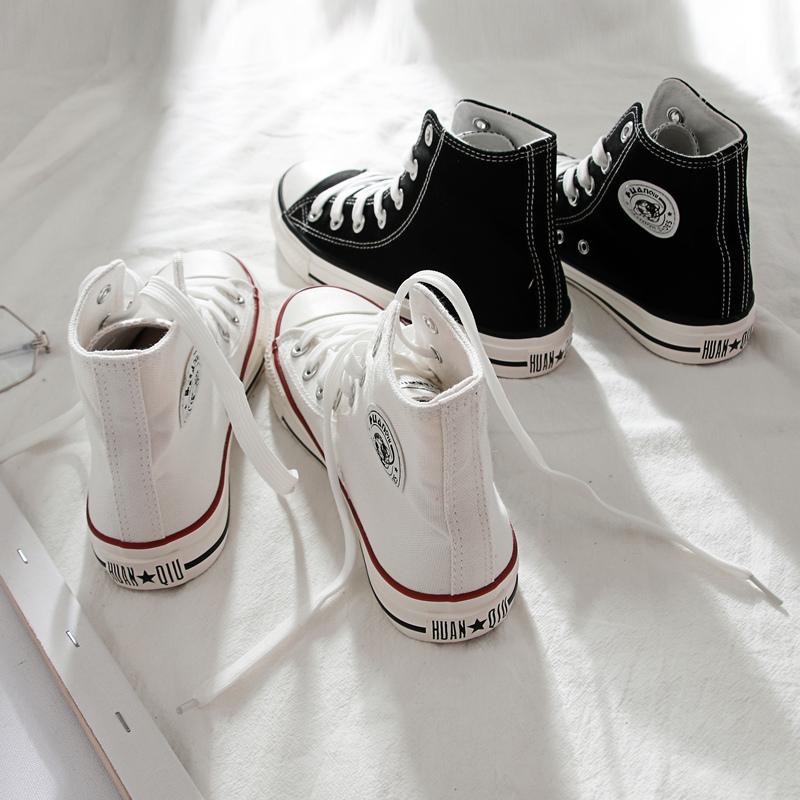 白色帆布鞋 环球帆布鞋女夏季薄款2021年新款女鞋学生布鞋白色球鞋高帮板鞋子_推荐淘宝好看的白色帆布鞋