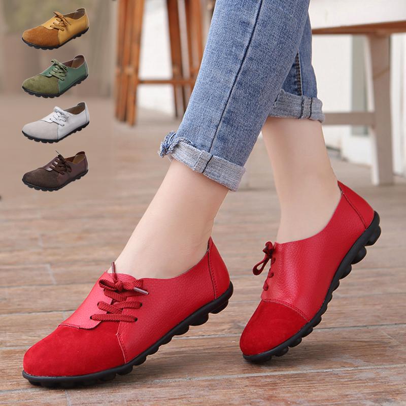 红色豆豆鞋 春天鞋子女2021新款纯皮豆豆鞋女春款真皮牛皮软底平底妈妈鞋红色_推荐淘宝好看的红色豆豆鞋