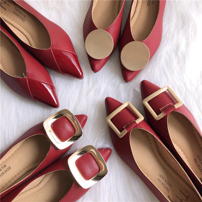 红色平底鞋 炒鸡显白红色系 尖头浅口平底鞋女金属方扣软底舒适百搭女鞋单鞋_推荐淘宝好看的红色平底鞋