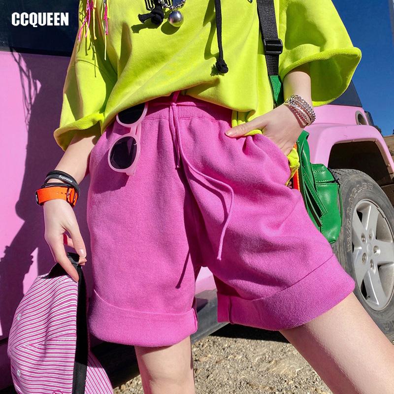 糖果色短裤 Ccqueen短裤2020新款女春夏运动风学生时尚cec糖果色针织五分中裤_推荐淘宝好看的糖果色短裤