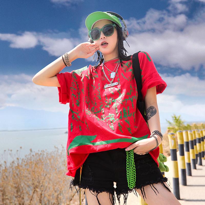 短袖t恤 Ccqueen短袖女2020新款夏装街头宽松时尚怪味少女chic港味大版t恤_推荐淘宝好看的女短袖t恤