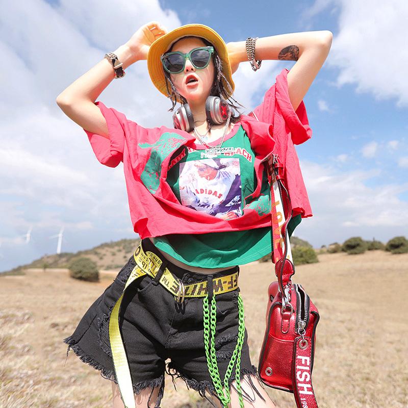 短袖t恤 Ccqueen短袖女2020新款夏装街头潮ifashion港风拼接假两件短款t恤_推荐淘宝好看的女短袖t恤